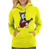 Awesome Funny Grey Wolf Playing Red Guitar Womens Hoodie
