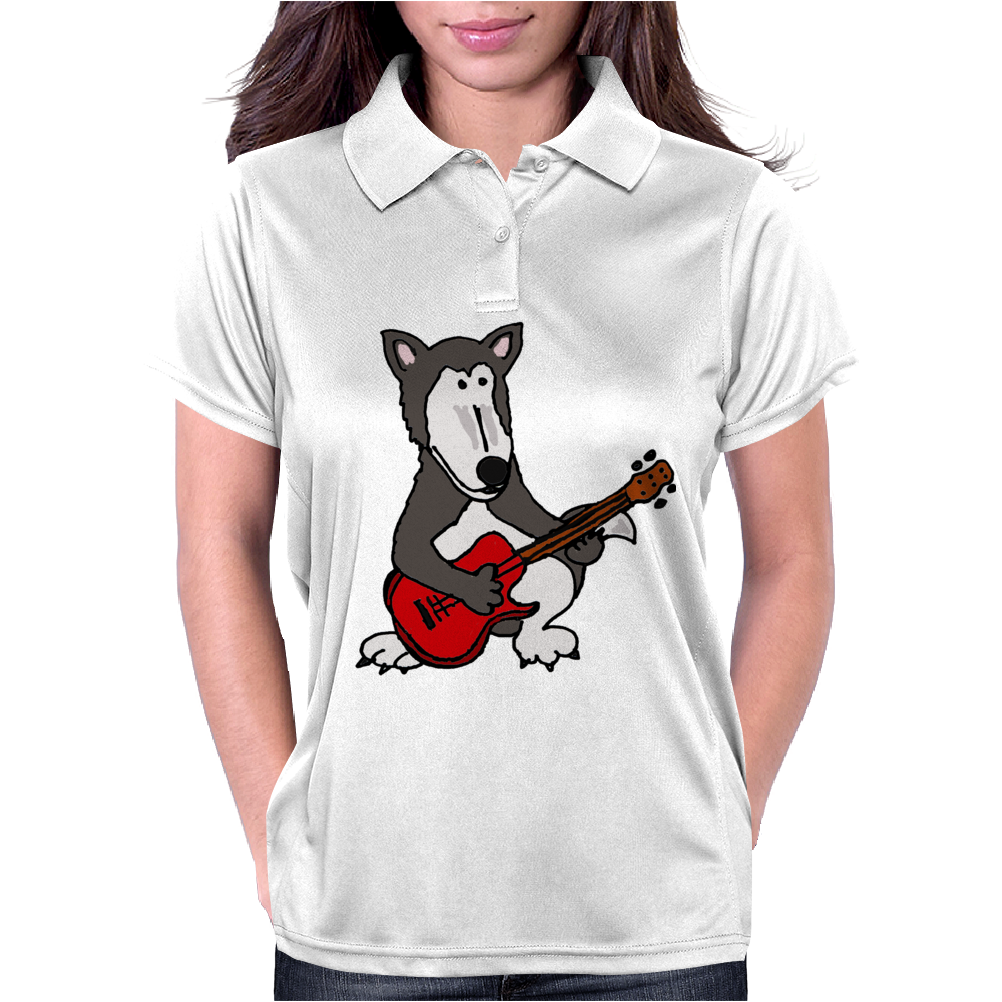 Awesome Funny Grey Wolf Playing Red Guitar Womens Polo