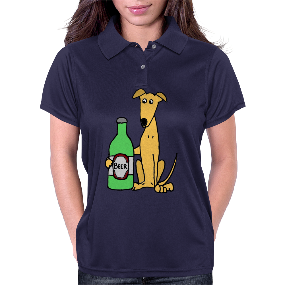 Awesome Funny Greyhound Dog Drinking Beer Womens Polo