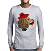 Awesome Funny Hedgehog Holding Daisy Flower Mens Long Sleeve T-Shirt
