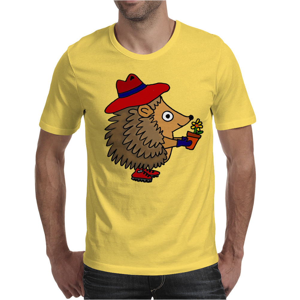 Awesome Funny Hedgehog Holding Daisy Flower Mens T-Shirt
