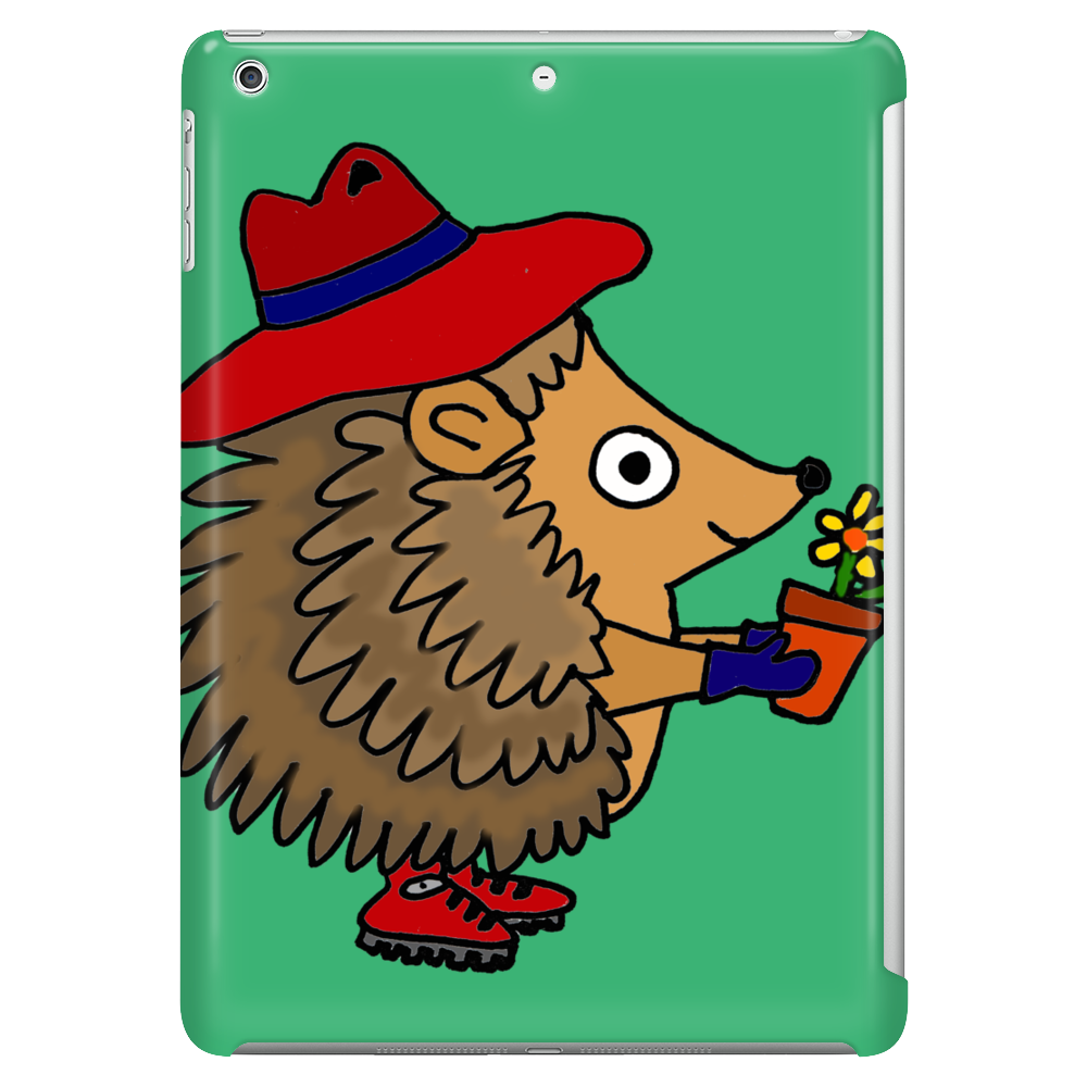Awesome Funny Hedgehog Holding Daisy Flower Tablet