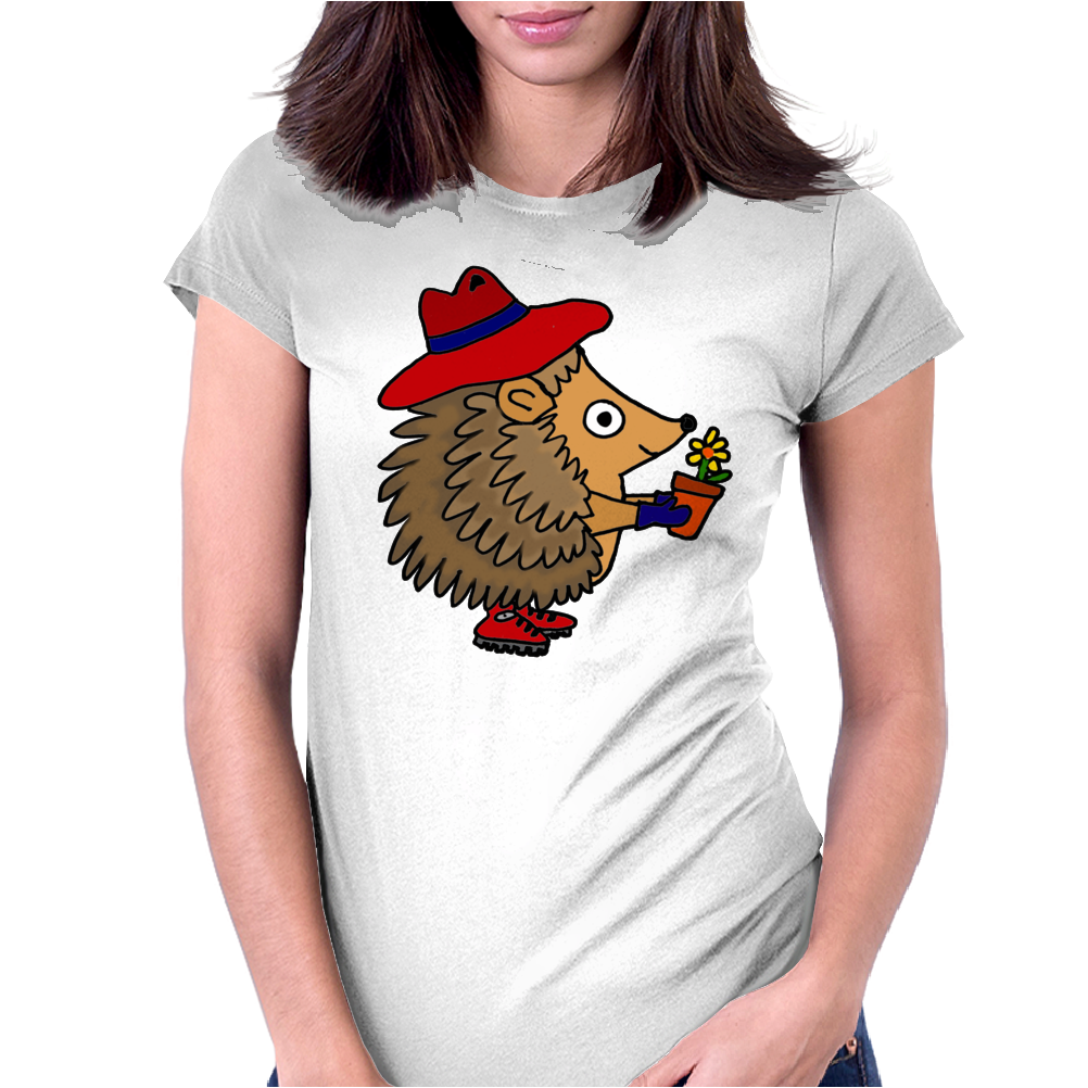 Awesome Funny Hedgehog Holding Daisy Flower Womens Fitted T-Shirt