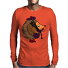 Awesome Funny Hedgehog is Playing the Bagpipes Mens Long Sleeve T-Shirt