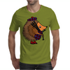 Awesome Funny Hedgehog is Playing the Bagpipes Mens T-Shirt