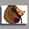 Awesome Funny Hedgehog is Playing the Bagpipes Poster Print (Landscape)