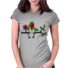 Awesome Funny Hummingbird Sipping Nectar with Straw Art Womens Fitted T-Shirt