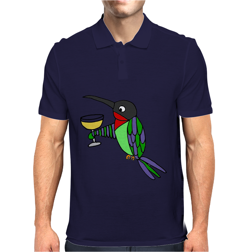 Awesome Funny Hummingbird with Wine Glass Mens Polo