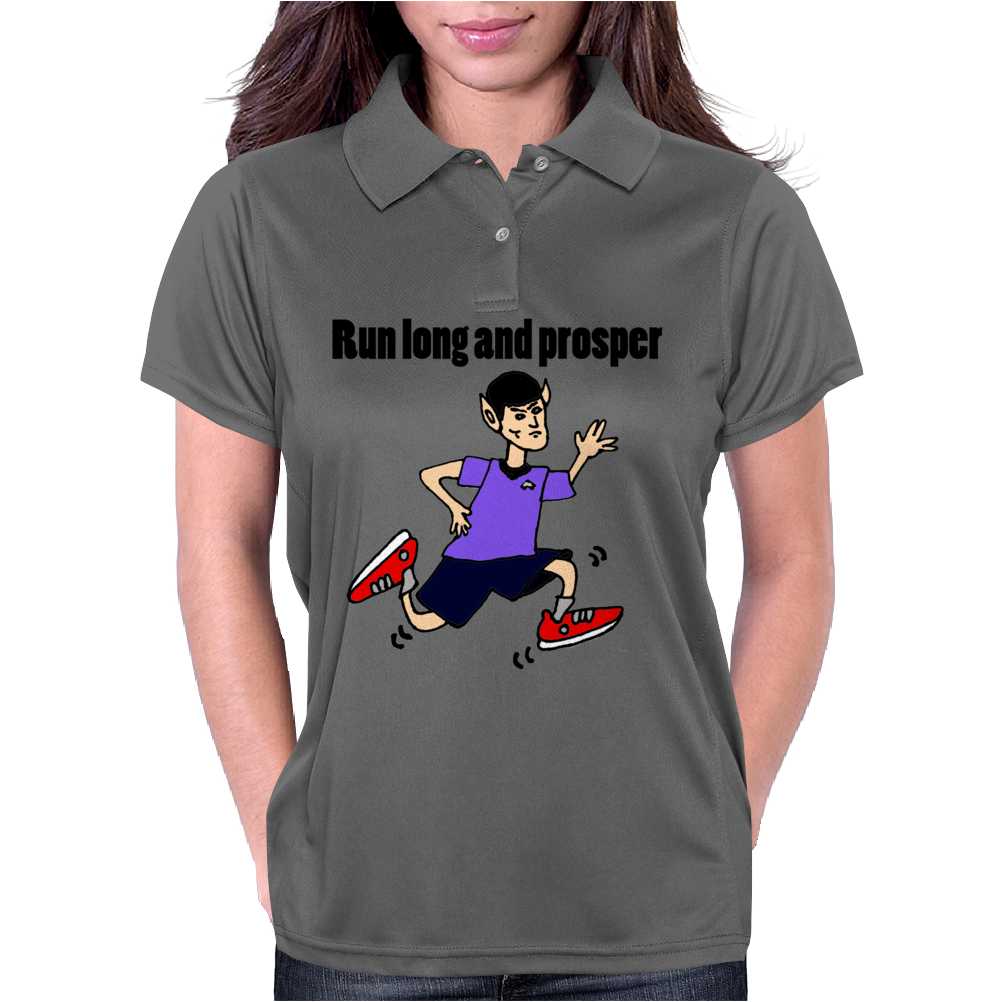 Awesome Funny Jogging Vulcan Cartoon Womens Polo