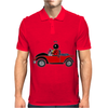 Awesome Funny Ladybug Driving Red and Black Bug Convertible Mens Polo