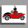 Awesome Funny Ladybug Driving Red and Black Bug Convertible Poster Print (Landscape)