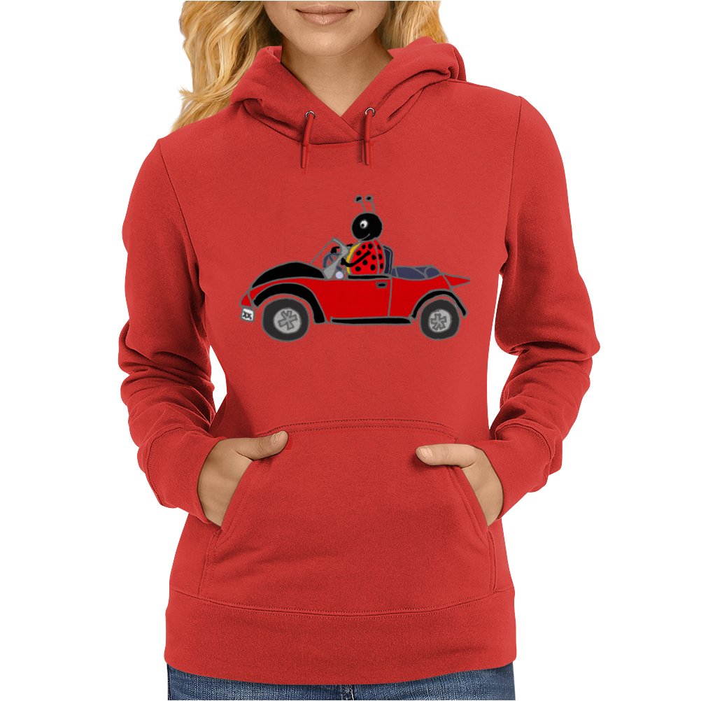 Awesome Funny Ladybug Driving Red and Black Bug Convertible Womens Hoodie