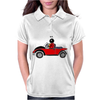 Awesome Funny Ladybug Driving Red and Black Bug Convertible Womens Polo