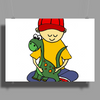 Awesome Funny Little Boy Hugging Pet Dinosaur Poster Print (Landscape)