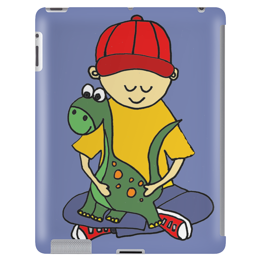 Awesome Funny Little Boy Hugging Pet Dinosaur Tablet