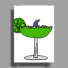 Awesome Funny Margarita Glass with Shark Fin Poster Print (Portrait)