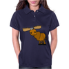 Awesome Funny Moose Cartoon Womens Polo