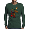 Awesome Funny Moose Ice Skating Art Mens Long Sleeve T-Shirt
