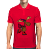Awesome Funny Moose Ice Skating Art Mens Polo