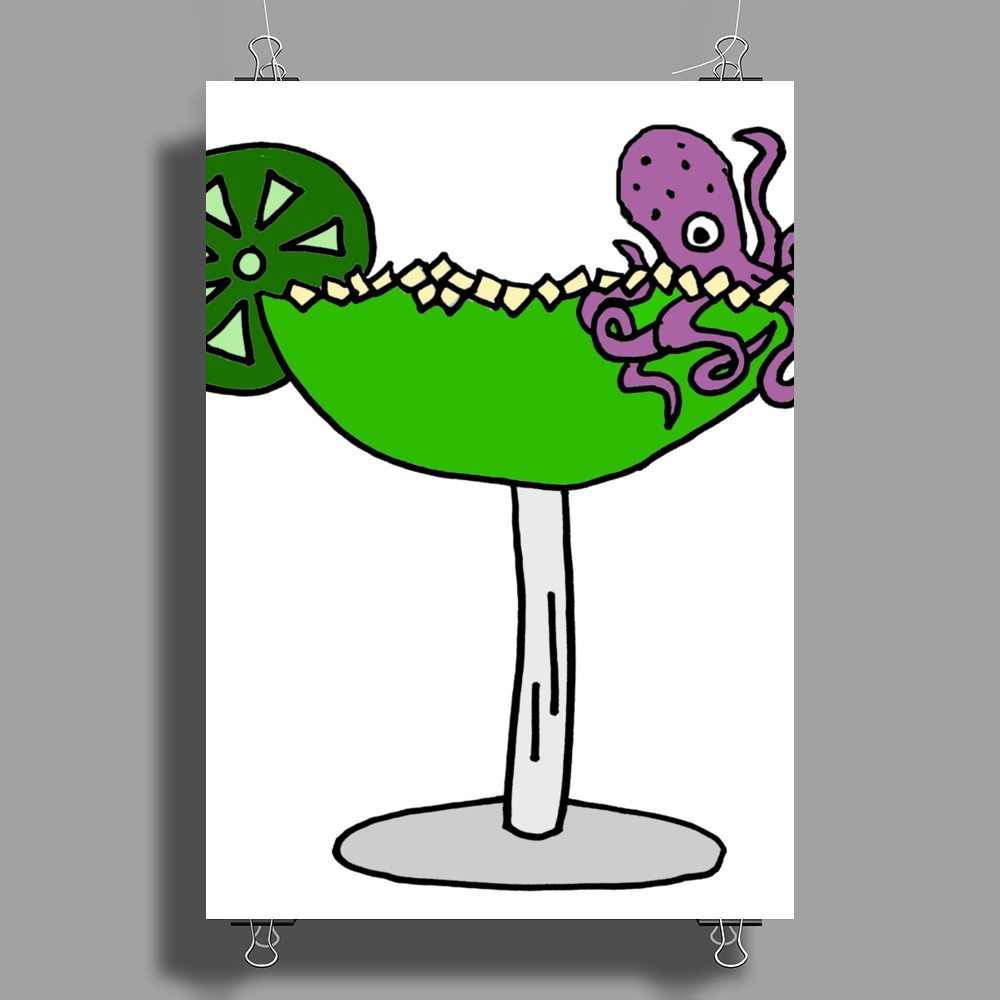 Awesome Funny Octopus in Margarita Poster Print (Portrait)