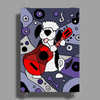 Awesome Funny Old English Sheepdog Playing Guitar Abstract Art Poster Print (Portrait)