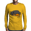 Awesome Funny Orange Cat and Grey Pot-Bellied Pig Mens Long Sleeve T-Shirt