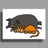 Awesome Funny Orange Cat and Grey Pot-Bellied Pig Poster Print (Landscape)