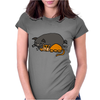 Awesome Funny Orange Cat and Grey Pot-Bellied Pig Womens Fitted T-Shirt
