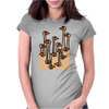 Awesome Funny Ostriches in the Sand Abstract Womens Fitted T-Shirt
