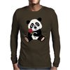 Awesome Funny Panda Bear with Red Rose Mens Long Sleeve T-Shirt