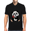 Awesome Funny Panda Bear with Red Rose Mens Polo