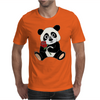 Awesome Funny Panda Bear with Red Rose Mens T-Shirt