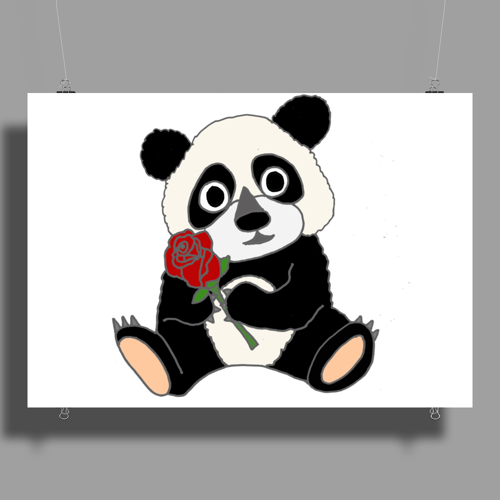 Awesome Funny Panda Bear with Red Rose Poster Print (Landscape)