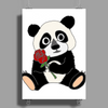 Awesome Funny Panda Bear with Red Rose Poster Print (Portrait)