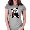 Awesome Funny Panda Bear with Red Rose Womens Fitted T-Shirt