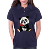 Awesome Funny Panda Bear with Red Rose Womens Polo