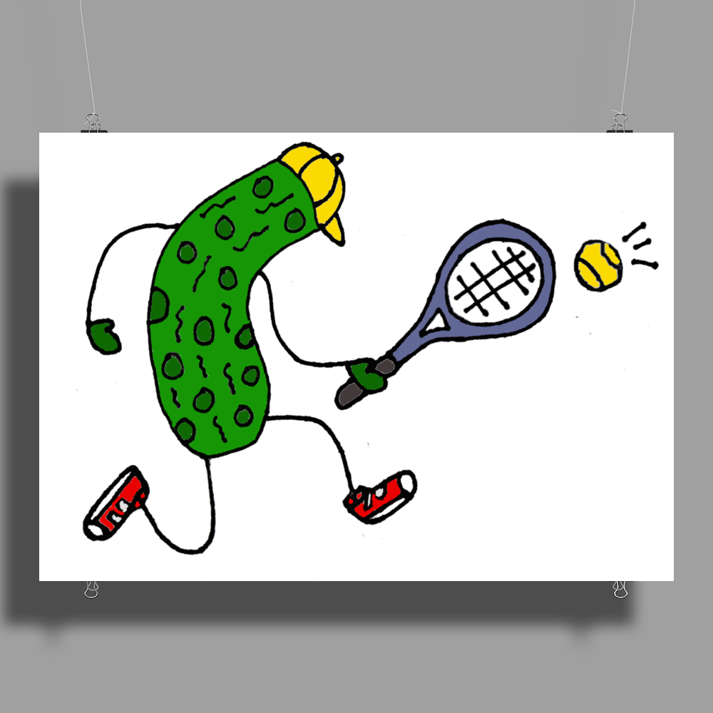 Awesome Funny Pickle Playing Tennis Cartoon Poster Print (Landscape)
