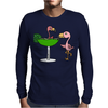 Awesome Funny Pink Flamingo and Lime Margarita Glass Mens Long Sleeve T-Shirt