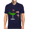 Awesome Funny Pink Flamingo and Lime Margarita Glass Mens Polo