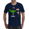 Awesome Funny Pink Flamingo and Lime Margarita Glass Mens T-Shirt