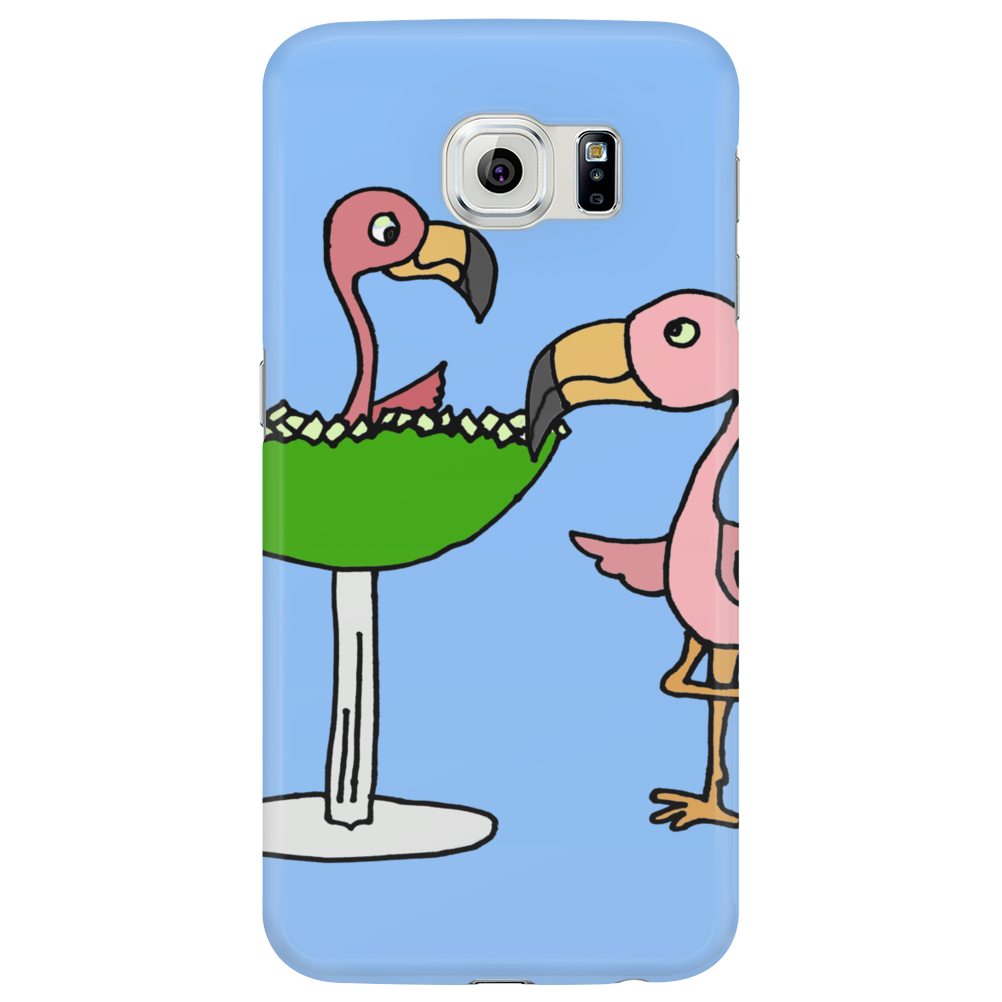 Awesome Funny Pink Flamingo and Lime Margarita Glass Phone Case