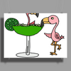 Awesome Funny Pink Flamingo and Lime Margarita Glass Poster Print (Landscape)