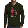 Awesome Funny Pink Flamingo in Wine Glas Art Mens Hoodie