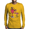 Awesome Funny Pink Flamingo in Wine Glas Art Mens Long Sleeve T-Shirt