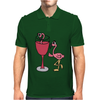 Awesome Funny Pink Flamingo in Wine Glas Art Mens Polo
