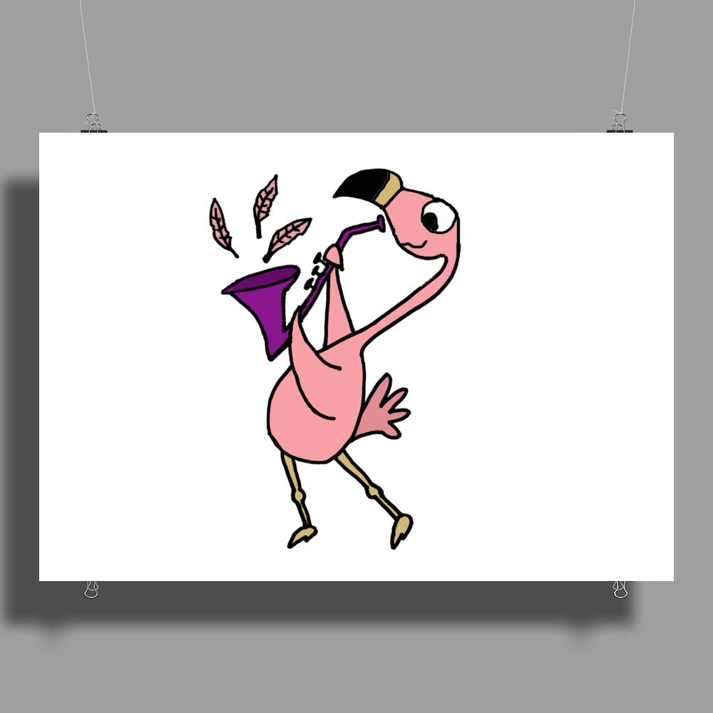 Awesome Funny Pink Flamingo Playing Saxophone Poster Print (Landscape)