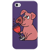 Awesome Funny Pink Pig Drinking Wine Art Phone Case