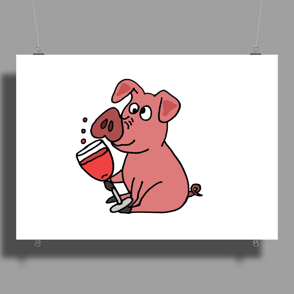 Awesome Funny Pink Pig Drinking Wine Art Poster Print (Landscape)