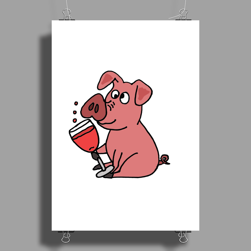 Awesome Funny Pink Pig Drinking Wine Art Poster Print (Portrait)