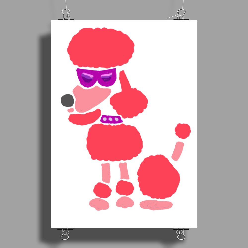 Awesome Funny Pink Poodle Dog Art Poster Print (Portrait)